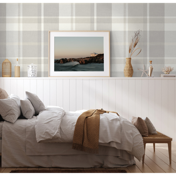 Picture of Madaket Light Grey Plaid Wallpaper