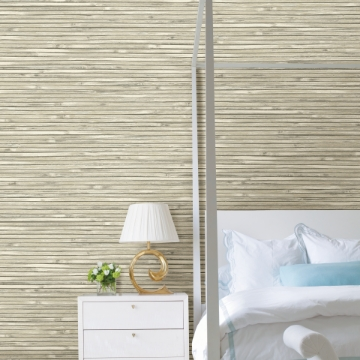 Picture of Bellport Ivory Wooden Slat Wallpaper