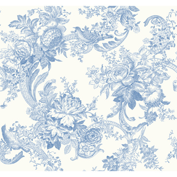 Picture of Carmel Light Blue Baroque Florals Wallpaper