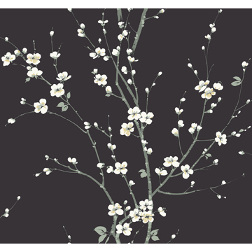 Picture of Monterey Black Floral Branch Wallpaper