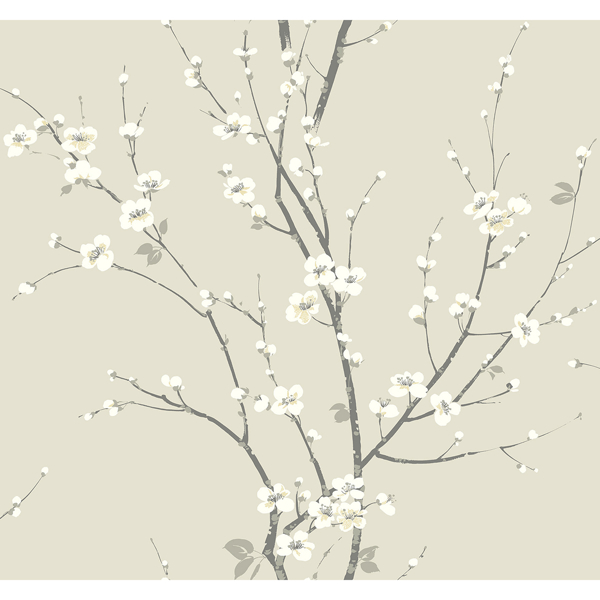 Picture of Monterey Ivory Floral Branch Wallpaper