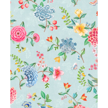 Picture of Good Evening Light Blue Floral Garden Wallpaper