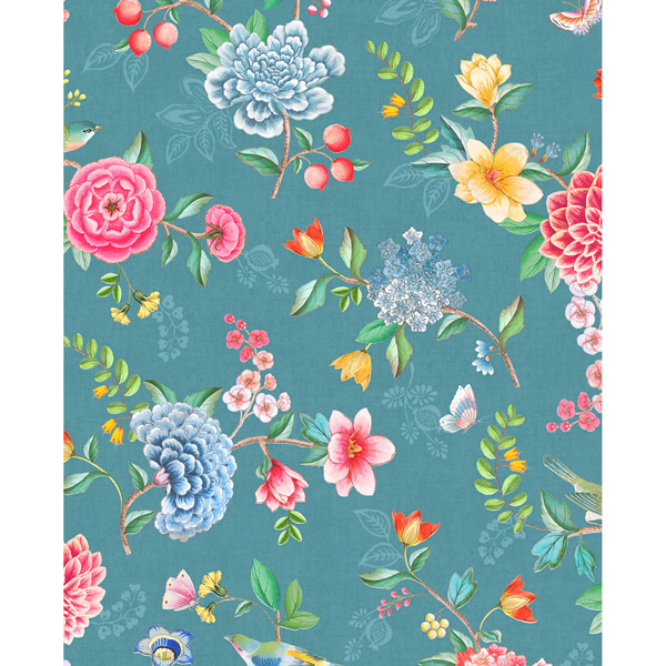 Picture of Good Evening Teal Floral Garden Wallpaper