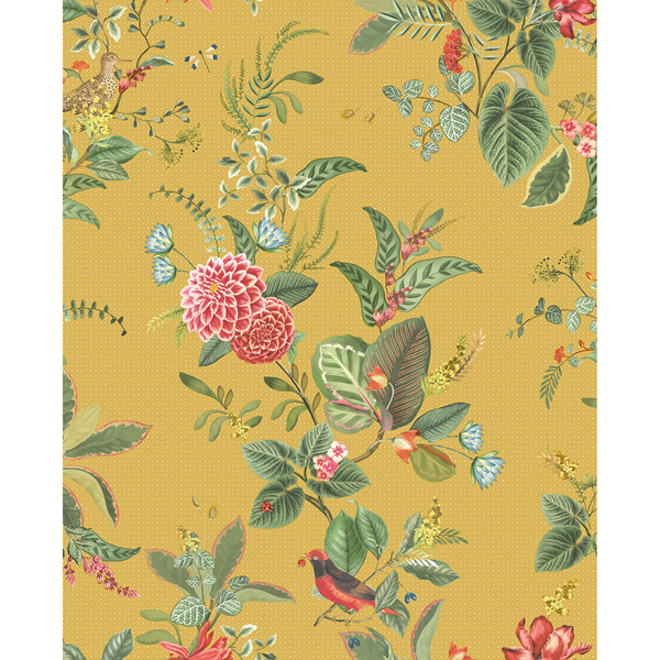 Picture of Floris Mustard Woodland Floral Wallpaper