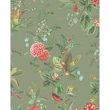 Picture of Floris Olive Woodland Floral Wallpaper