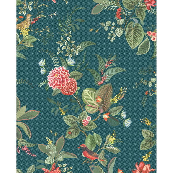 Picture of Floris Teal Woodland Floral Wallpaper