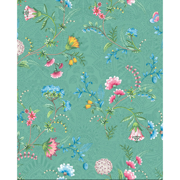 Picture of La Majorelle Green Ornate Floral Wallpaper