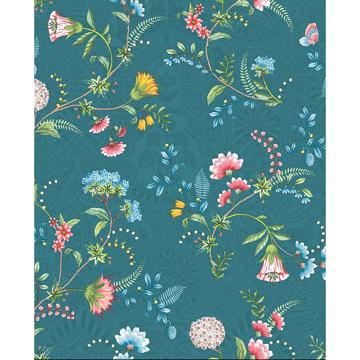 Picture of La Majorelle Teal Ornate Floral Wallpaper