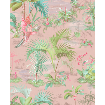 Picture of Calliope Pink Palm Scenes Wallpaper