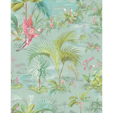 Picture of Calliope Light Blue Palm Scenes Wallpaper