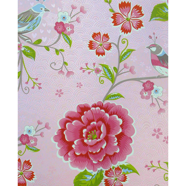 Picture of Yuma Light Pink Birds in Paradise Wallpaper