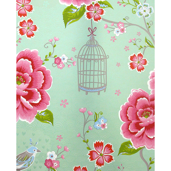 Picture of Yuma Light Green Birds in Paradise Wallpaper
