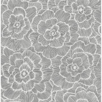 Picture of Periwinkle Grey Textured Floral Wallpaper