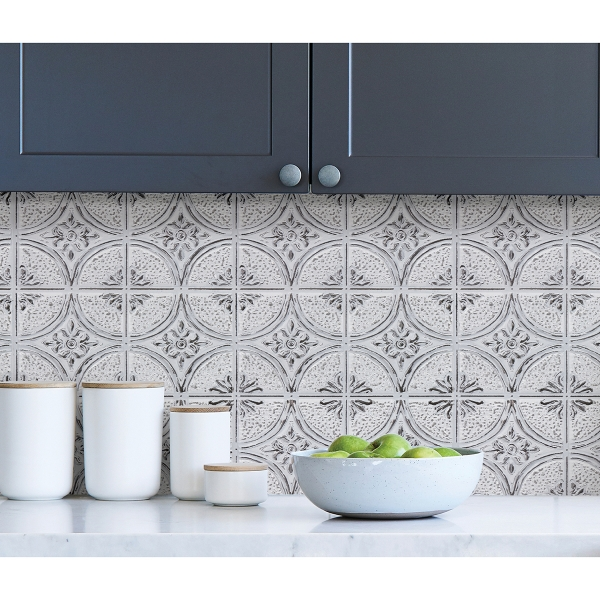 Picture of Camden Antique White Faux Tin Peel and Stick Backsplash Tiles