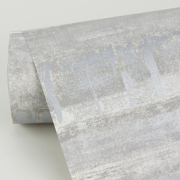 Picture of Rakasa Silver Distressed Stripe Wallpaper