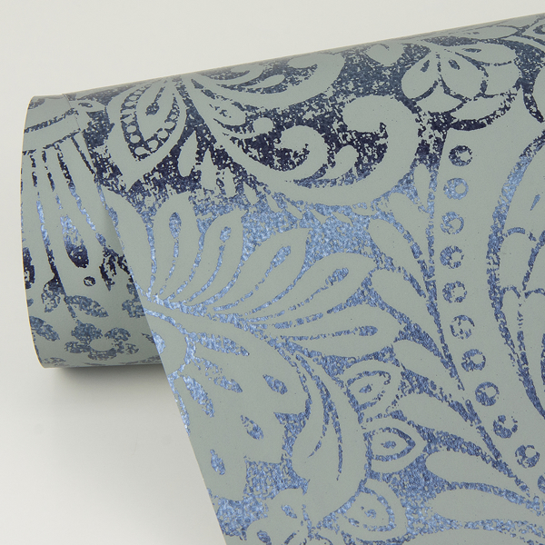 Picture of Artemis Sapphire Floral Damask Wallpaper
