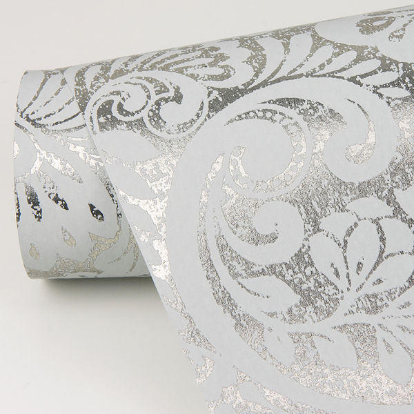 Picture of Artemis Silver Floral Damask Wallpaper