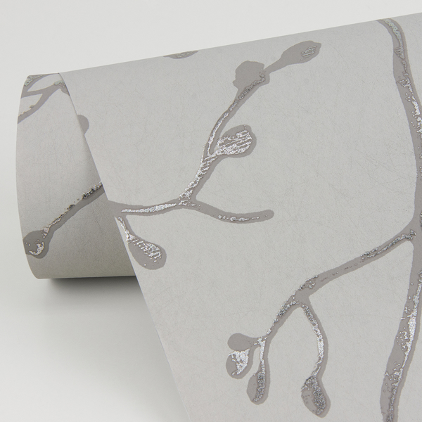 Picture of Koura Silver Budding Branches Wallpaper
