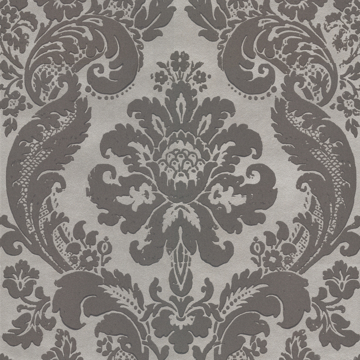 Picture of Shadow Grey Flocked Damask Wallpaper