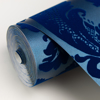 Picture of Shadow Blue Flocked Damask Wallpaper