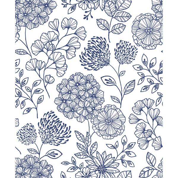 Picture of Ada Blue Floral Wallpaper