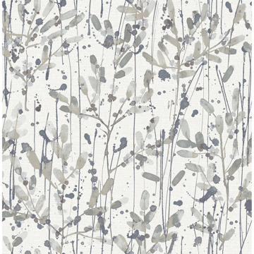 Picture of Leandra Grey Floral Trail Wallpaper