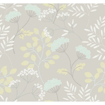 Picture of Sorrel Light Grey Botanical Wallpaper