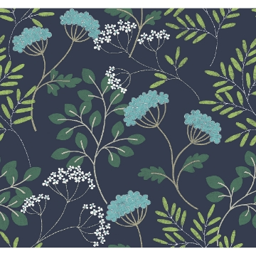 Picture of Sorrel Navy Botanical Wallpaper