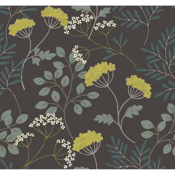Picture of Sorrel Black Botanical Wallpaper
