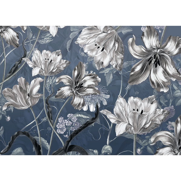 Picture of Silver Florals Wall Mural
