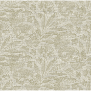 Picture of Lei Neutral Etched Leaves Wallpaper