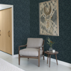 Picture of Lei Navy Etched Leaves Wallpaper