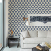 Picture of Payton Blue Hexagon Trellis Wallpaper