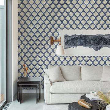 Picture of Payton Blue Hexagon Trellis Wallpaper