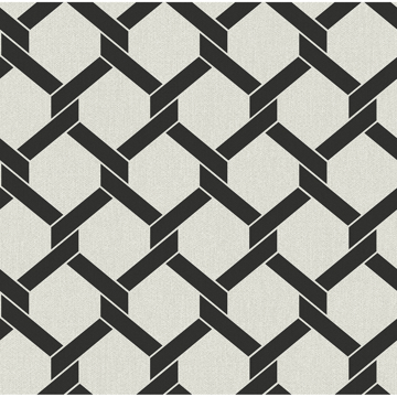 Picture of Payton Black Hexagon Trellis Wallpaper