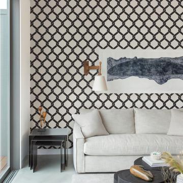 Picture of Payton Black Hexagon Trellis Wallpaper