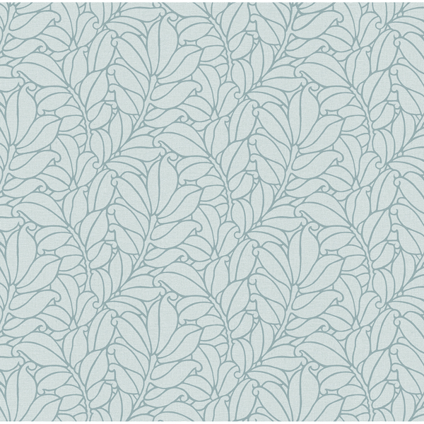 Picture of Coraline Teal Leaf Wallpaper