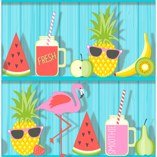 Picture of Kids Teal Tropical Shelves Wallpaper