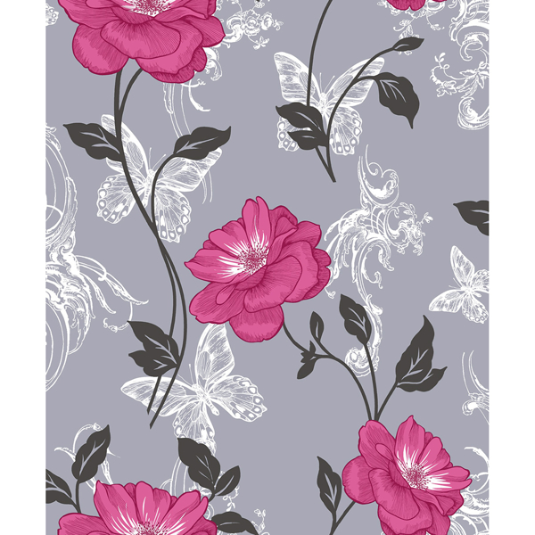 Picture of Millie Pink Floral Wallpaper