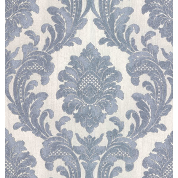 Picture of Milano Light Blue Damask Wallpaper