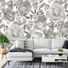Picture of Blooming Floral Dove Grey Wall Mural