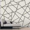 Picture of Modern Lines Black on Dove Grey Wall Mural