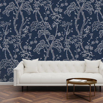 Picture of Storybook Forest Denim Blue Wall Mural