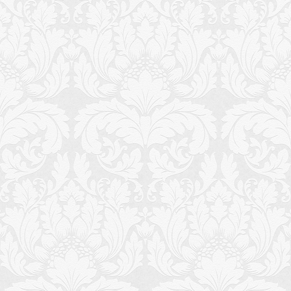 Picture of Jan White Damask Paintable Wallpaper