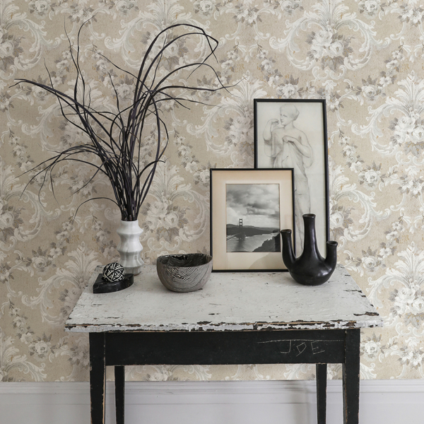 Picture of This Old Hudson Natural Neutral Rose Damask Wallpaper
