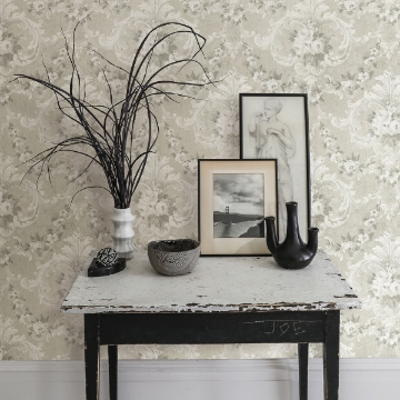 Picture of This Old Hudson Timeless Grey Rose Damask Wallpaper