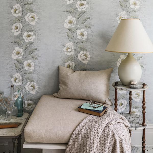 Picture of Dutch Garland Pale Blue Gardenia Stripe Wallpaper