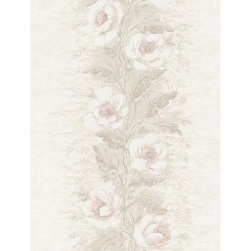 Picture of Dutch Garland Blush Gardenia Stripe Wallpaper