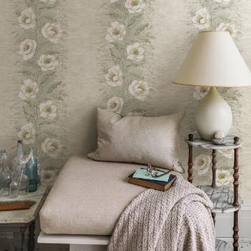 Picture of Dutch Garland Timeless Grey Gardenia Stripe Wallpaper