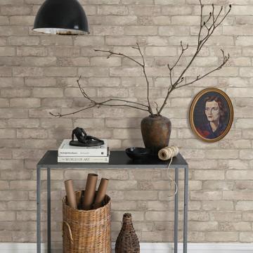 Picture of Limewashed Weathered Brick Bone Brick Wallpaper